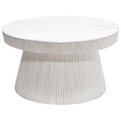 Laminasi Rattan Round Coffee Table, 80cm, White