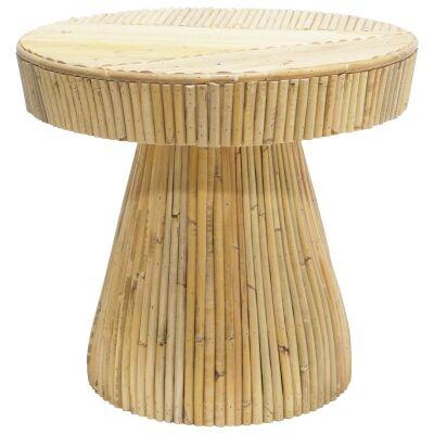 Laminasi Rattan Round Side Table, Natural