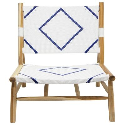 Diagonal Timber & Wicker Lounge Chair