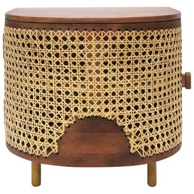 Sirocco Mango Wood & Cane Bedside Table