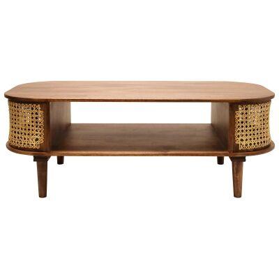 Sirocco Mango Wood & Cane Coffee Table, 120cm