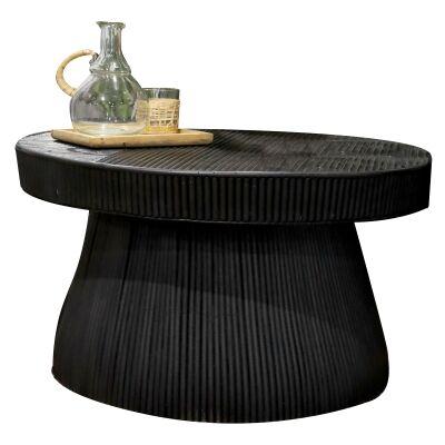 Laminasi Rattan Round Coffee Table, 80cm, Black