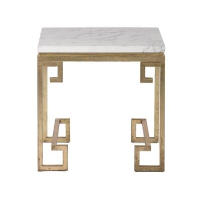 Cleopatra Marble Top Metal Side Table, Gold