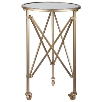 Tennyson Glass Top Metal Side Table with Castors