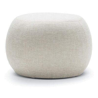 Venus Round Fabric Pouf, Light Beige