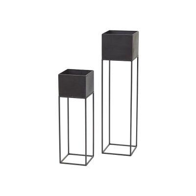 Kubus 2 Piece Metal Pot Planter Set