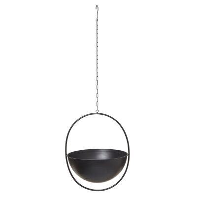 Harmony Metal Hanging Bowl Planter, Large, White-I