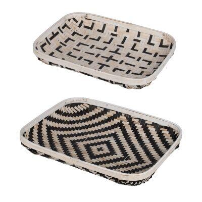 Organic Elements 2 Piece Woven Basket Tray Set, Rectangle