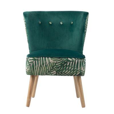 Green Fern Fabric Lounge Chair