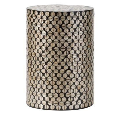 Copacabana Seashell Inlay Round Accent Stool / Side Table