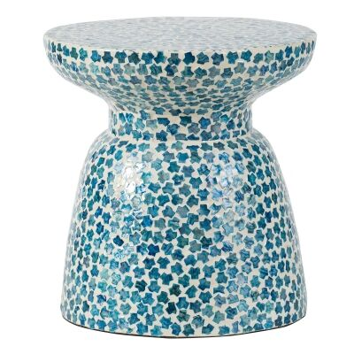 Seashell Inlay Round Accent Stool / Side Table