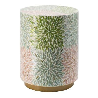 Taormina Seashell Inlay Round Accent Stool / Side Table