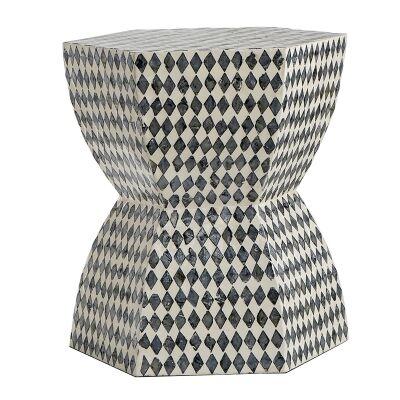 Heidern Seashell Inlay Accent Stool / Side Table