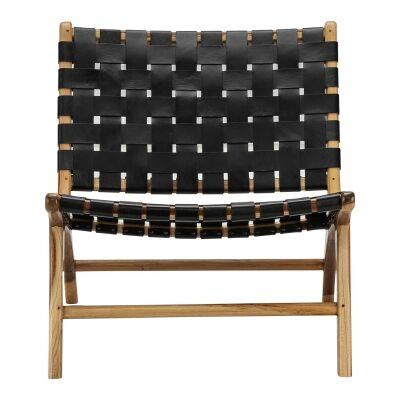 Lazie Woven Leather & Teak Lounge Chair, Black