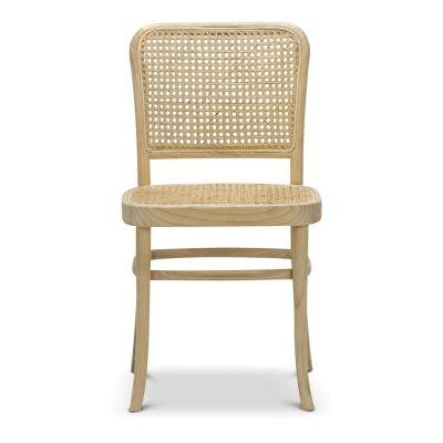 Prague Rattan & Teak Timber Dining Chair, Set of 2, Natural