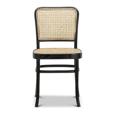 Prague Rattan & Teak Timber Dining Chair, Set of 2, Black