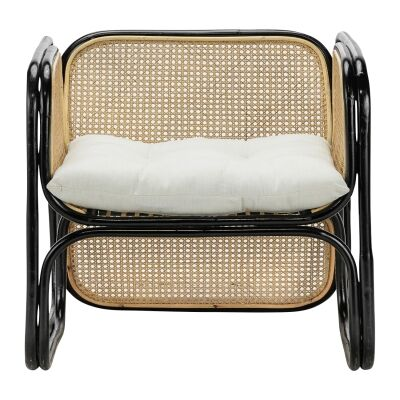 Lexie Rattan Lounge Armchair, Black