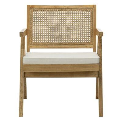 Mira Teak & Rattan Lounge Armchair, Natural