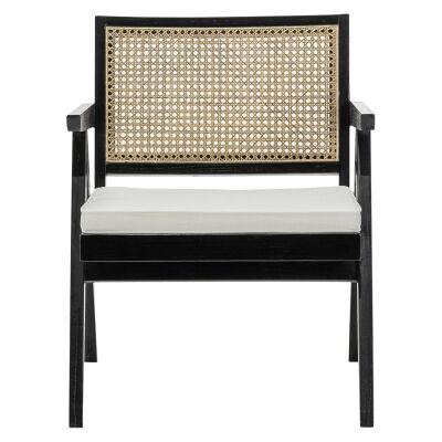 Mira Teak & Rattan Lounge Armchair, Black