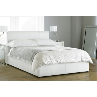 Deluxe Bicast Leather Bed, Queen, White