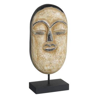 Mitsuki Mango Wood Mask Sculpture on Stand