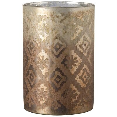 Siesia Handmade Metallic Glass Hurricane, Tall, Large