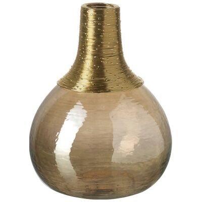 Makeda Handmade Metal & Glass Vase, Small