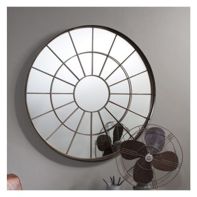 Battersea Industral Window Metal Frame Round Wall Mirror, 100cm