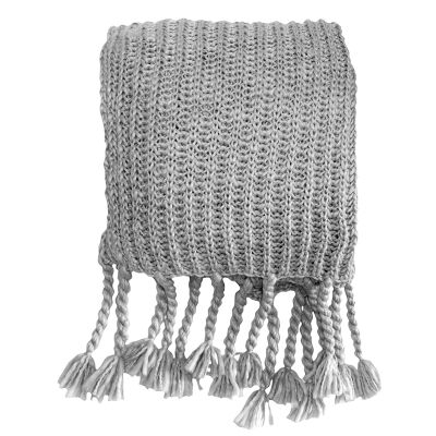 Salisbury Knitted Chunky Throw, Silver