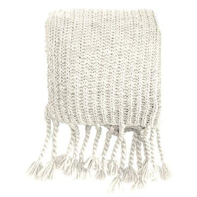Saran Knitted Chunky Throw, Cream