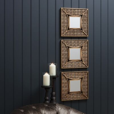 Agadir 3 Piece Metal Frame Wall Mirror Set