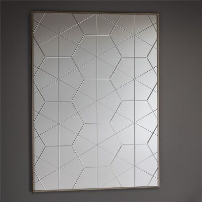 Esagono Groove Cut Hexagon Mirror, 106cm