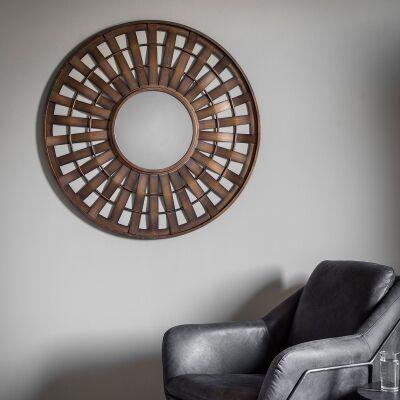 Mitcham Metal Frame Round Wall Mirror, 92cm