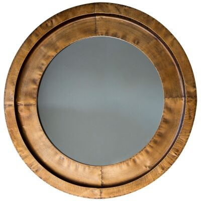 Milly Metal Frame Round Wall Mirror, 87cm