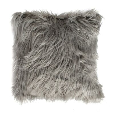 Mongolian Feather Filled Faux Fur Scatter Cushion, Silver