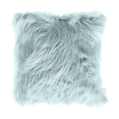 Mongolian Feather Filled Faux Fur Scatter Cushion, Duck Egg Blue