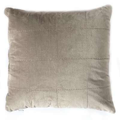 Kirkby Feather Filled Stabstitch Velvet Scatter Cushion, Beige