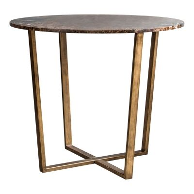 Chan Marble Top Round Dining Table, 90cm, Brown / Brass