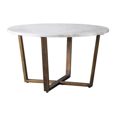 Emperor Marble Top Round Coffee Table, 80cm, White / Brass