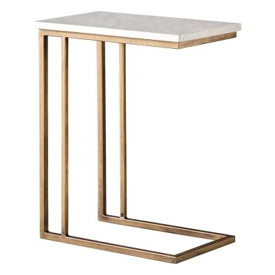 Emperor Marble Top C-shape Side Table, White / Brass
