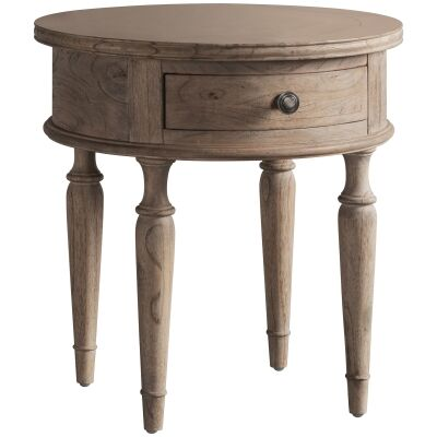 Mirren Solid Mindi Wood Round Side Table