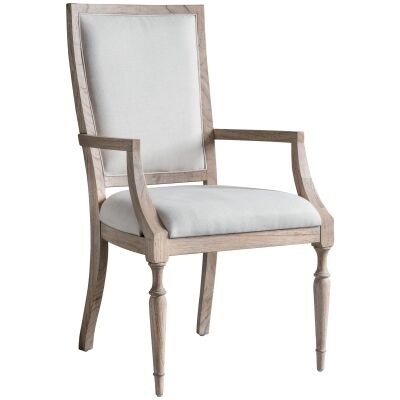 Mirren Fabric Upholstered Mindi Wood Armchair