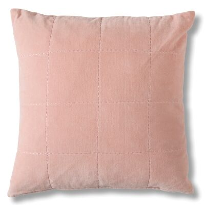 Kirkby Feather Filled Stabstitch Velvet Scatter Cushion, Blush