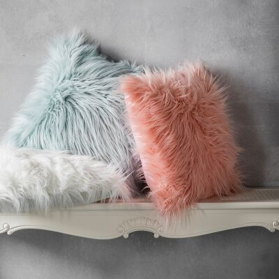 Mongolian Feather Filled Faux Fur Scatter Cushion, Blush