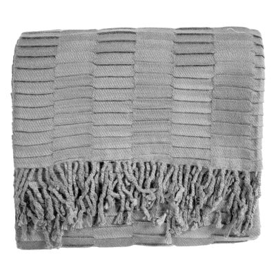 Linear Pleat Cotton Throw, Silver
