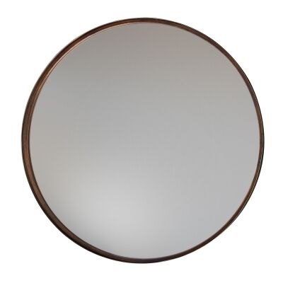 Metal Frame Round Wall Mirror, 61cm