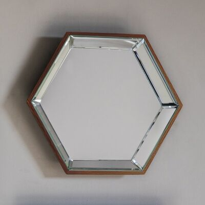 Pacific Metal Frame Hexagon Wall Mirror, 35cm
