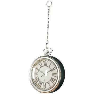 Oxford Pocket Watch Wall Clock, 24cm, Chrome