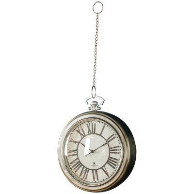 Oxford Pocket Watch Wall Clock, 24cm, Nickel