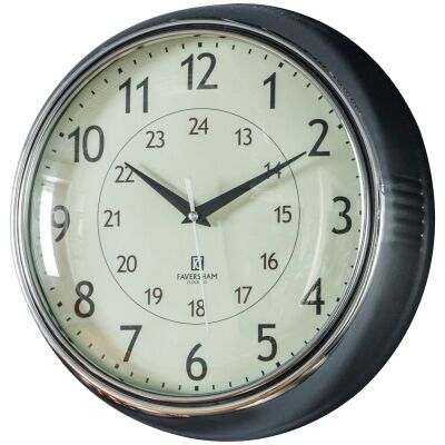 Temple Round Wall Clock, 28cm, Chrome